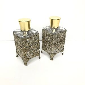 3/$25 Vanity Glass Bottles Gold Trims set of 2